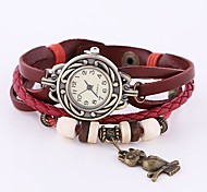 Coway Women's Round Dial Red Leather Diamond Band Quartz Analog  Braceiet Watch