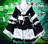 Maid Style White Lace Black Satin Kuro & Shiro Wa Lolita Kimono
