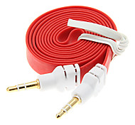 1M 3.3FT Noodle Flat Auxiliary Aux Audio Kabel 3,5 mm Jack Male naar Male Cord