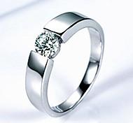 Männer versilbert Platinum 3 A Zirkon Ring