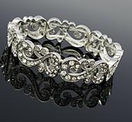 La flor del Rhinestone de la boda de la pulsera del brazalete de la Mujer