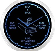 nc0912 Avid Reader  Book Worm Novels Neon Sign LED Wall Clock