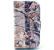 Grey Camo Tree Pattern PU Leather Case with Card Holder for Samsung Galaxy Trend Duos S7562