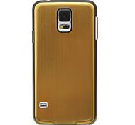 Metal del banco de estirar la piel del patrón liso duro Volver Funda para el Samsung Galaxy i9600 S5