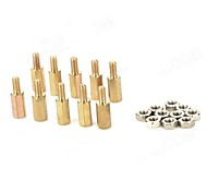 10 millimetri M3 Colonne Brass + Dadi - Golden + argento (10 PCS)