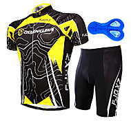 FJQXZ Men's 100% Polyester Yellow+Black Short Sleeve Cycling Suit