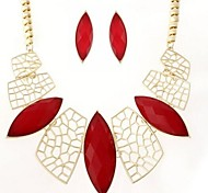 Leaves  Alloy (Necklaces&Earrings&) Gemstone Jewelry Sets(Black,Red,Blue)