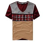 Hombre con cuello en V Casual Plaid manga corta camiseta (Patrón al azar)