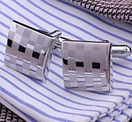 1.5cm Moda Masculina Gemelos Plata Cobre (Plata) (1 par)