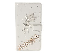 DIY Angel and Lucky Flowers with Rhinestone Pattern Litchi Texture Leather Case with Stand for Sony Xperia M2 S50h