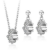 Women's Wedding Jewelry Set Rhodium Plated Rhinestone Statement Jewelry Sets