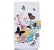 Colorful Butterfly Pattern PU Leather Full Body Case with Card Slot for Sony T2