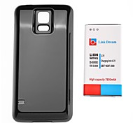 7800mAh  Thickened Cell Phone  Battery with NFC + Glossy Black Back Cover  for Samsung S5 I9600 (EB-BG900BBC)