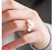 Fashionable Joker Cute Size Three Pearl ring