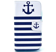 Striped Anchor Pattern PU Leather Case with Card Holder for Samsung Galaxy I8160