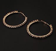 Fashion 6CM Diamanted Golden Alloy Hoop Earring(1 Pair)