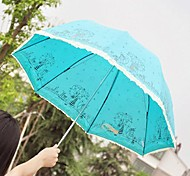 Illustration Design Anti-UV Non-woven Fabrics And Iron Folding Umbrella  (Random Color x 1 PCS)