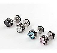 Lureme®316L Surgical Titanium Steel Zircon Crown Single Stud Earrings(Random Color)\ \ \ \ \