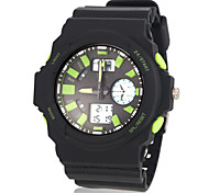 Men's Multifunctional Flashing LED Dual Time Zones Rubber Band Wrist Watch (Assorted Colors)