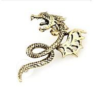 Oreilles en forme de dragon fraîche en métal vert Texture suspendues Boucles d'oreilles