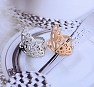Lureme®Hollow out Butterfly's Wing Alloy Ring Golden and Silver (Assorted Size)