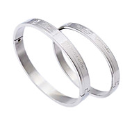 Fashion  Oblong Diamond  Couple  Silvery  316L Stainless Steel Bangle