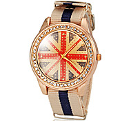 Unisex UK Flag Pattern Colorful Fabric Band Quartz Wrist Watch (Assorted Colors)