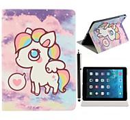 Sky Notte Arcobaleno Pony modello Cuoio Custodia completo con basamento e una penna di tocco dello stilo per iPad Air