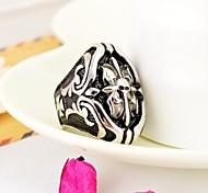 Vintage Men's Engraving Cross Stainless Steel Ring