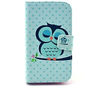 Sleeping Owls Pattern PU Leather Case with Stand and Card Slot for Motorola Moto E