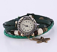 Coway New Women's Round Dial Green Leather  Band Quartz Analog  Braceiet Watch Cool Watches Unique Watches