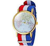 Unisex Earth Map Pattern Colorful Fabric Band Quartz Wrist Watch (Assorted Colors)