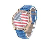 Coway Unisex Round Dial Blue Leather Band Quartz Analog Wrist Watch