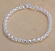 Simple Novel Women's New Round Lattices Brass Silver Plated Chain & Link Bracelet(Silver)(1Pc)