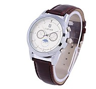 Cycle de Coway unisexe cadran brun cuir de quartz de bande analogique montre-bracelet étanche