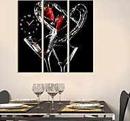 Impact of Red Wine Clock in Canvas 3pcs