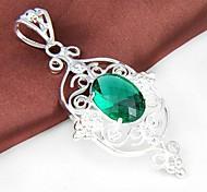 Date 1pc quartz vert Gemstone pendentif en argent