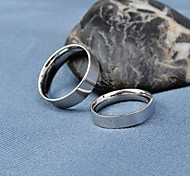 Fashion Silver Titanium Steel Couple Wider Rings