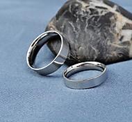 Fashion Silver Titanium Steel Couple Wider Rings