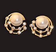 Z&X®  Fashion All Over The Sky Star Rhinestone Pearl Moon Shaped Stud Earrings