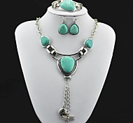 Toonykelly® Vintage Turquoise (Include Necklace and Earring and Bracelet) Jewelry Set (Green)
