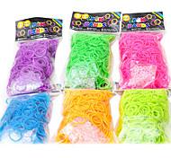 colorido de la banda de goma multicolor arco iris noctilucence telar púrpura (300 PC bandas + 14 pcs c o s clips)