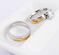 Fashion Golden Ribbon Silver Titanium Steel Couple Ring