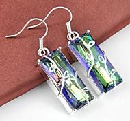 Natural Rainbow Mystic Topaz Gemstone Daily Drop Silver Classis Earrings 1pair