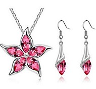 Flower Shpe Diamond  Silver Crystal (Necklaces&Earrings&) Jewelry Sets(Navy,Green,Pink)