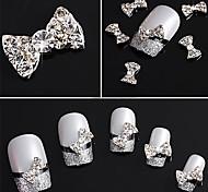 20PCS 3D tachonado Rhinestone Silver Nail Art Decoraciones