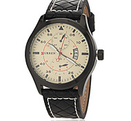 Men's Fighter Style Black Leather Band Quartz Wrist Watch (Assorted Colors)