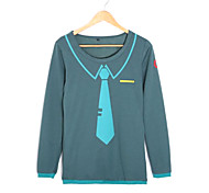 Vocaloid Hatsune Miku Grigio T-shirt Cosplay donne manica lunga in poliestere