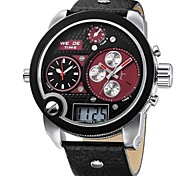 Men's Military Style Multi-Functional Three Time Zones Leather Band Wrist Watch (Assorted Colors)