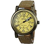 relógio de estilo bronze pulseira de couro de pulso de quartzo das mulheres (cores sortidas)